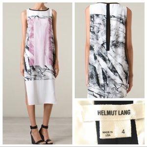 NWOT Helmut Lang Mason Marble Print Crepe Dress